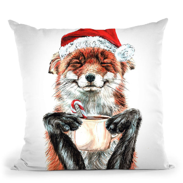 Morning Fox Christmas Throw Pillow By Holly Simental