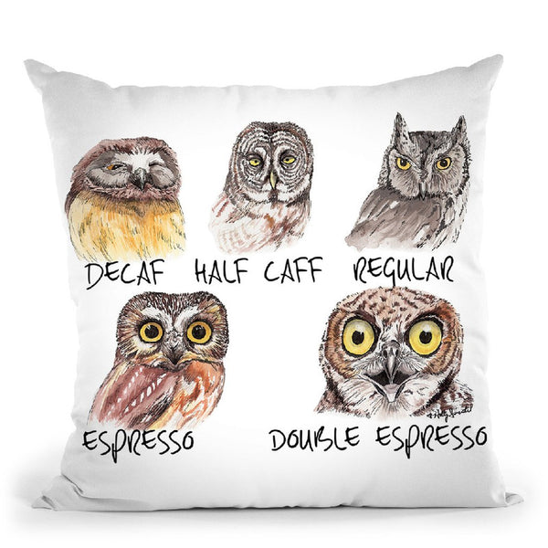 Owl Caffeine Meter Throw Pillow By Holly Simental