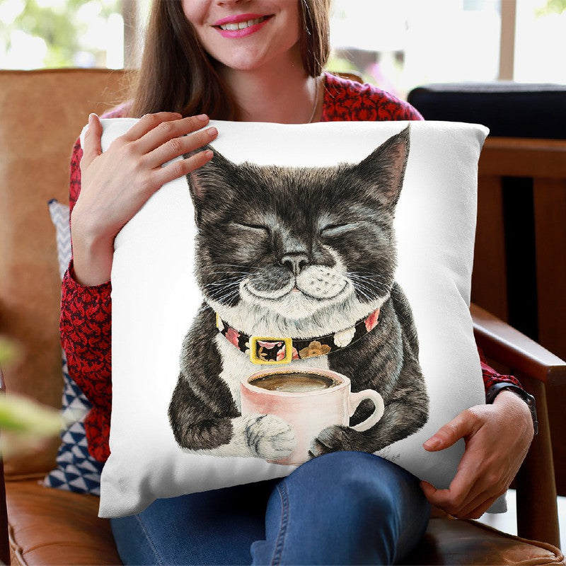 Purrfect Morning Throw Pillow By Holly Simental