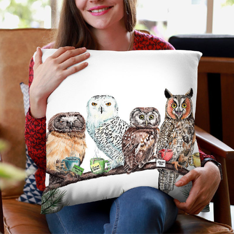 Tea Owls Throw Pillow By Holly Simental