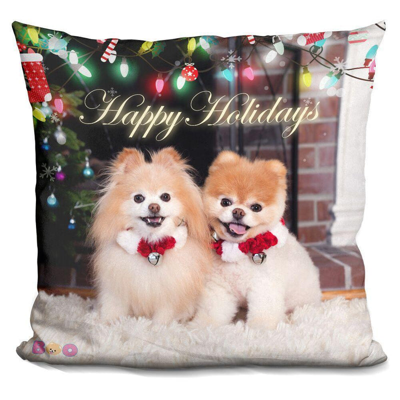 Happy Holidays Buddy and Boo Pillow