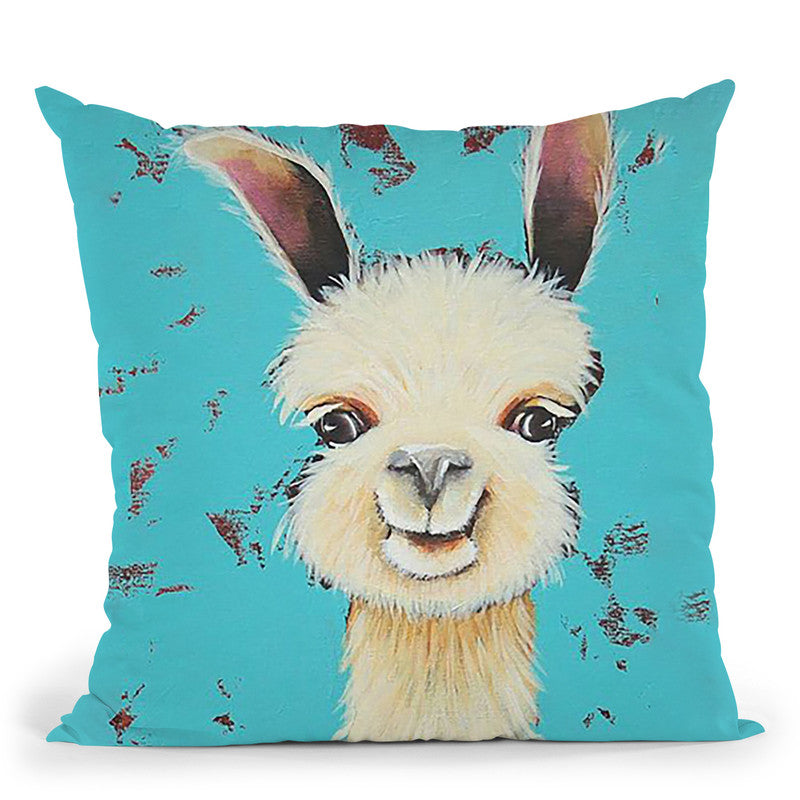 Llama Sue Throw Pillow By Image Conscious - by all about vibe