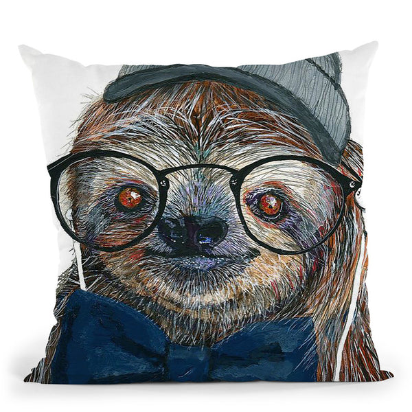 Hipster Sloth Throw Pillow By Image Conscious - by all about vibe