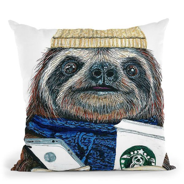 Urban Sloth Throw Pillow By Image Conscious - by all about vibe