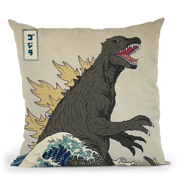 The Great Monster Off Kanagawa Throw Pillow By Image Conscious - by all about vibe