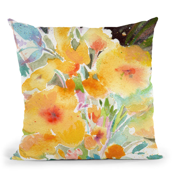 Yellow Bouquet Throw Pillow By Image Conscious - by all about vibe