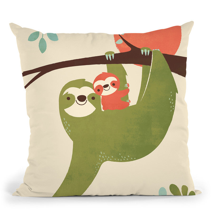Mama Sloth Throw Pillow By Image Conscious - by all about vibe