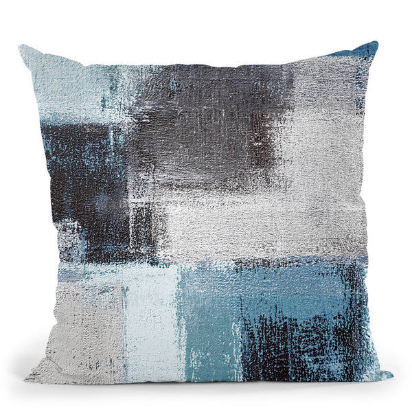 Abstract Blue Iii Throw Pillow By Image Conscious - by all about vibe