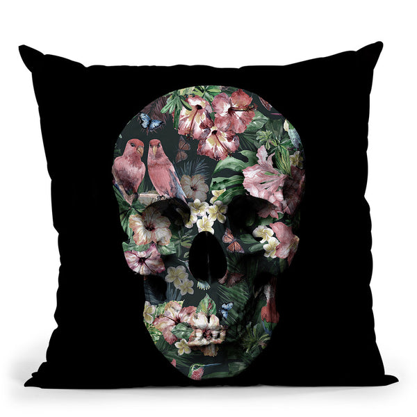 Tropic Skull Throw Pillow By Image Conscious - by all about vibe