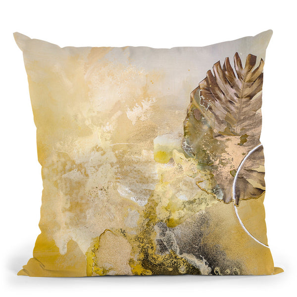 Golden Leaf Throw Pillow By Image Conscious - by all about vibe