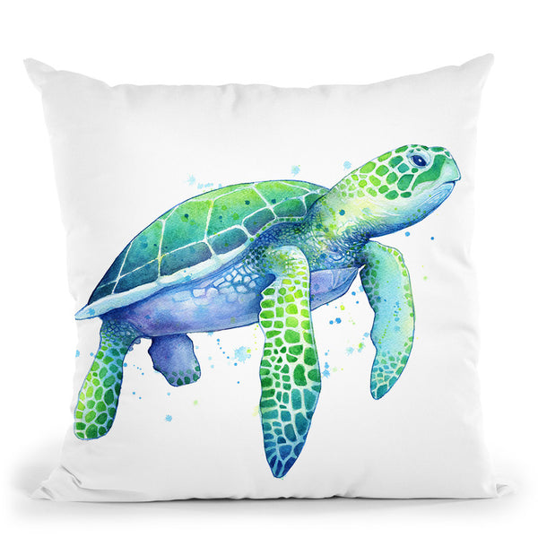 Green Sea Turtle Throw Pillow By Image Conscious - by all about vibe