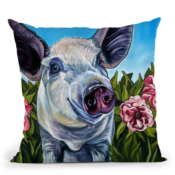 Pigs And Peonies Throw Pillow By Image Conscious - by all about vibe