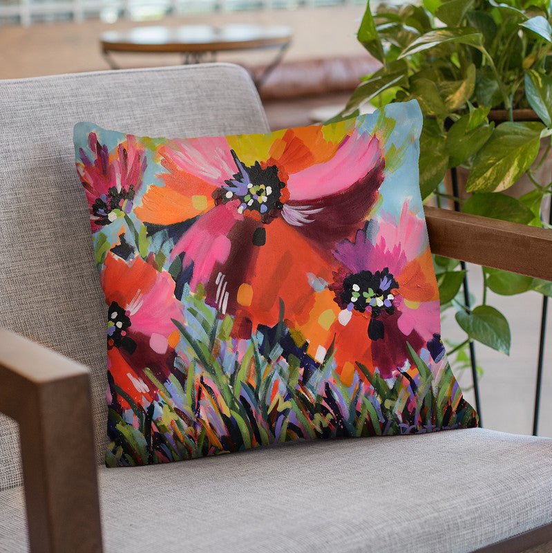 Poppy Reds Throw Pillow By Image Conscious - by all about vibe