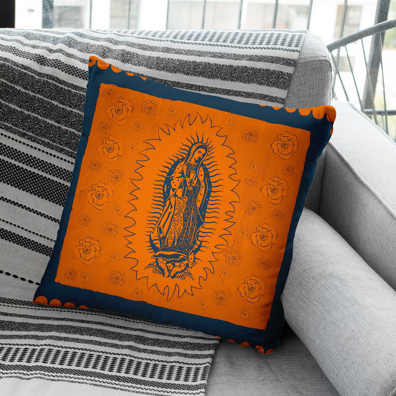 Orange And Blue Mary Throw Pillow By Image Conscious