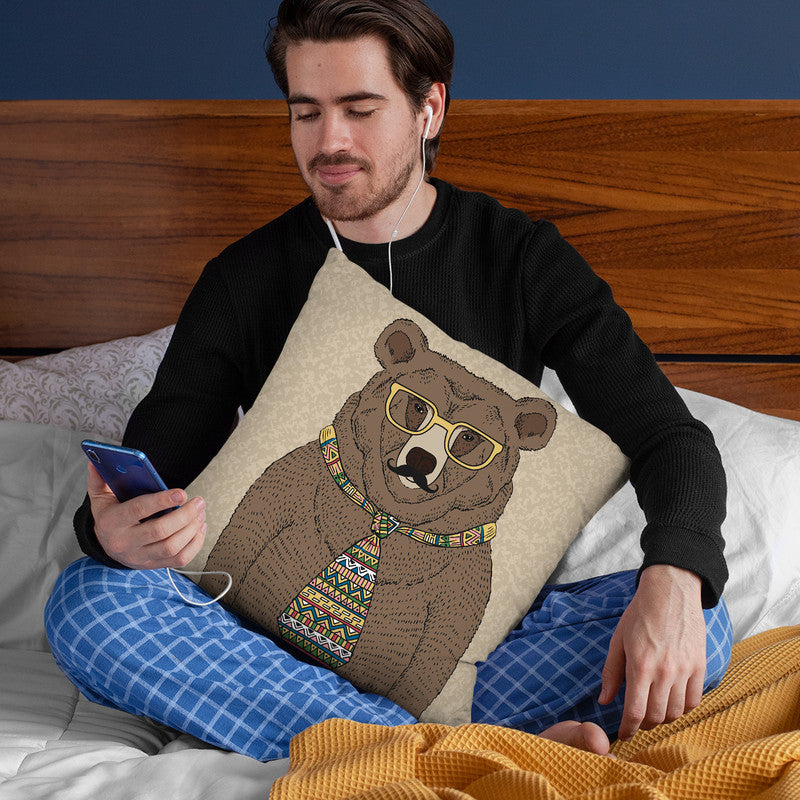 Bear-Man Throw Pillow By Image Conscious - by all about vibe