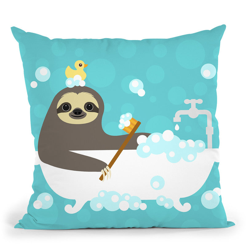 Scrubbing Bubbles Sloth Throw Pillow By Image Conscious - by all about vibe
