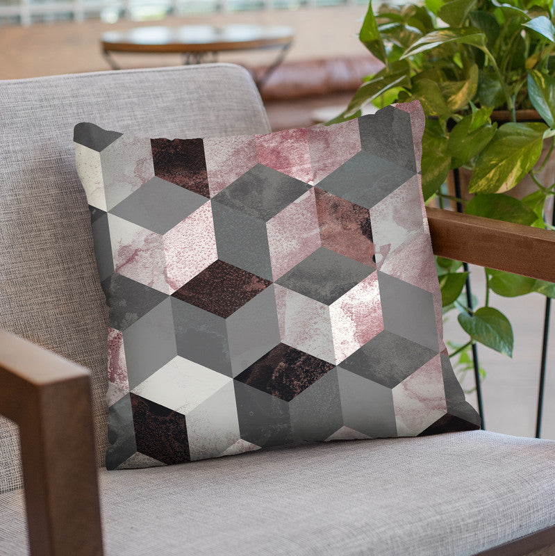 Cubes Rose Throw Pillow By Image Conscious - by all about vibe