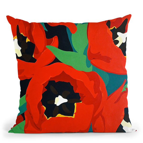 Red Tulips Throw Pillow By Image Conscious - by all about vibe