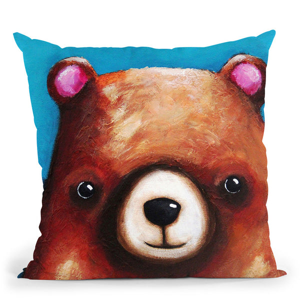 The Brown Bear Throw Pillow By Image Conscious - by all about vibe