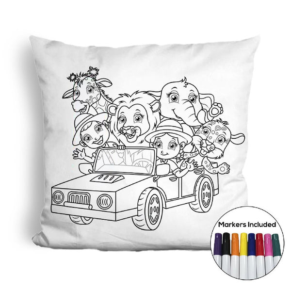 Animal car ride coloring pillow Made In USA