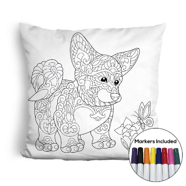 Corgi coloring pillow Made In USA