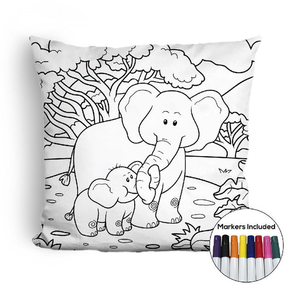 Elephants coloring pillow Made In USA