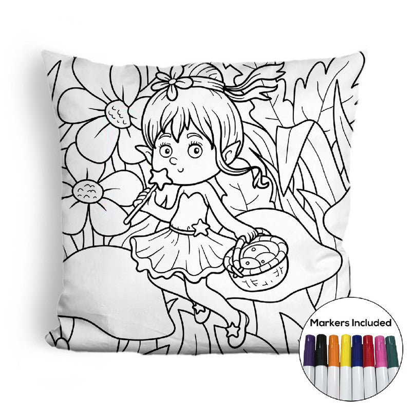 Fairy with fruit basket coloring pillow Made In USA