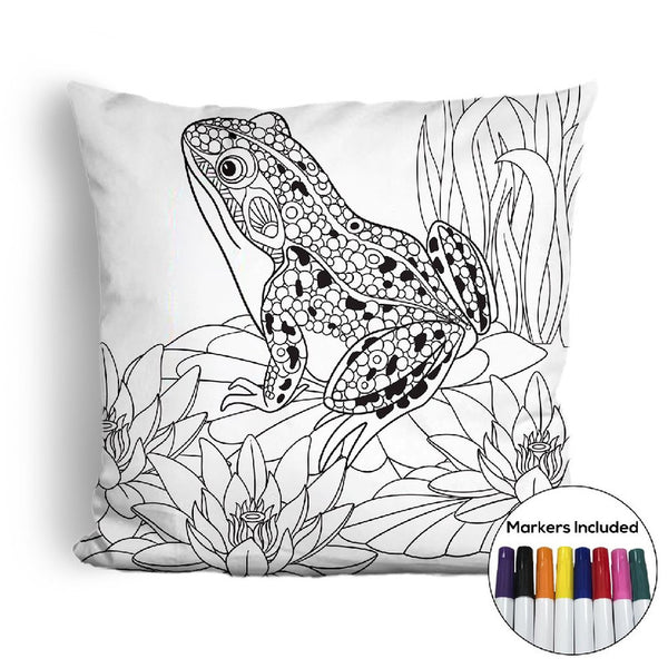 Frog coloring pillow Made In USA