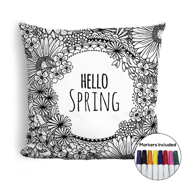 Hello Spring coloring pillow Made In USA