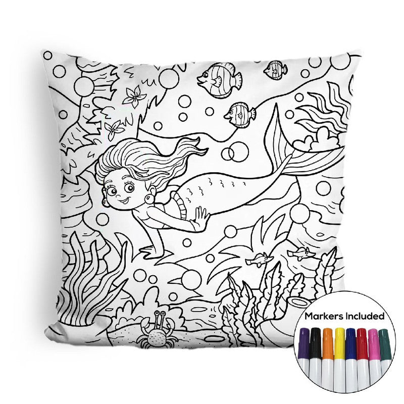Little mermaid and sea world coloring pillow Made In USA