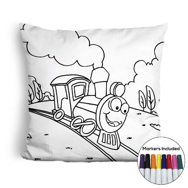 Train coloring pillow Made In USA