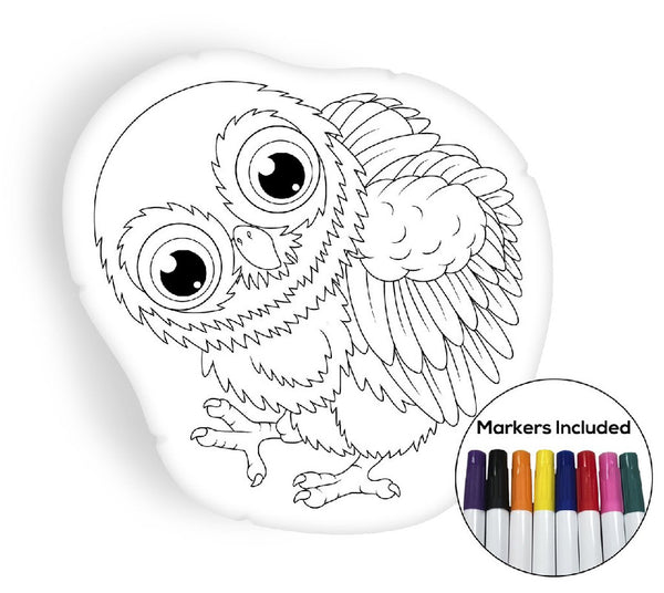 Baby owl coloring pillow Made In USA