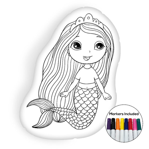 Beautiful little mermaid coloring pillow Made In USA