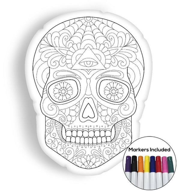 Beautiful skull coloring pillow Made In USA