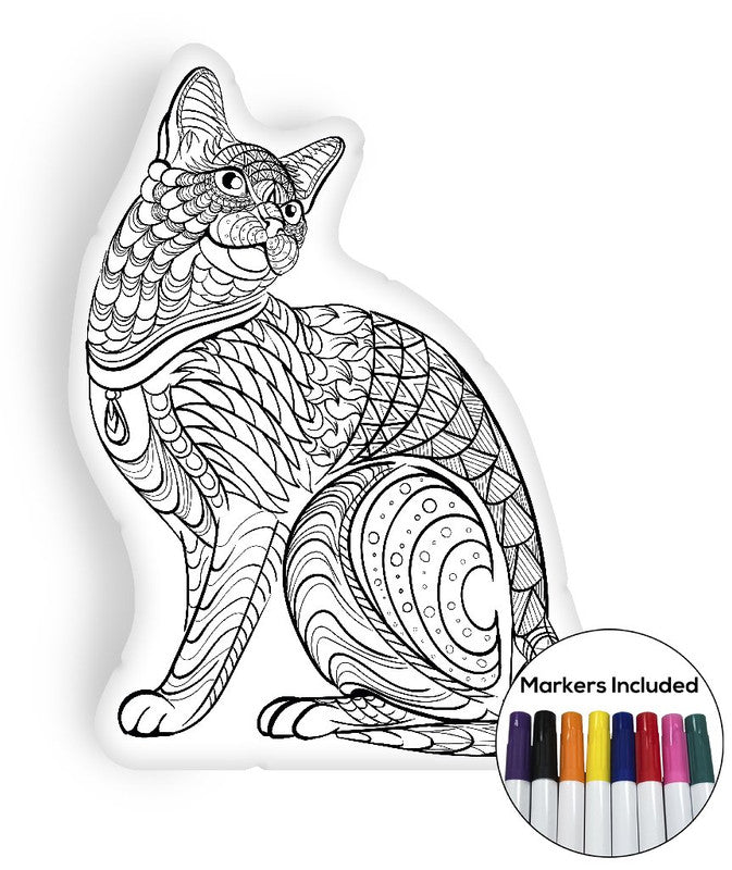 Cat coloring pillow Made In USA