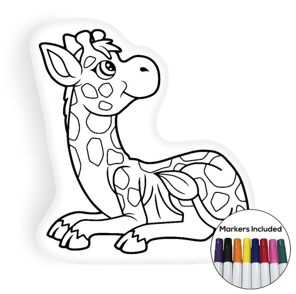 Cute giraffe coloring pillow Made In USA