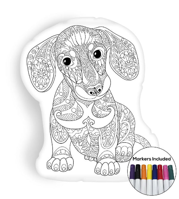 Dachshund puppy coloring pillow Made In USA