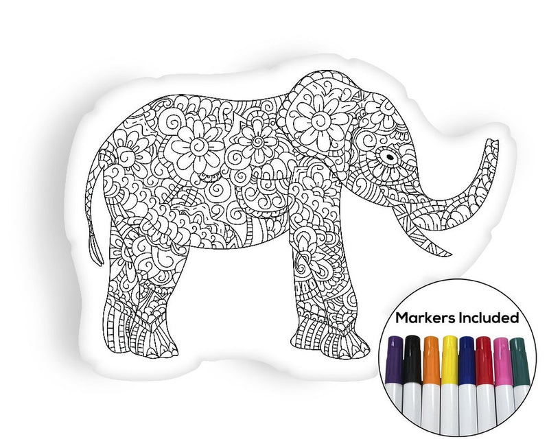 Elephant coloring pillow Made In USA