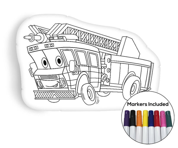 Firetruck coloring pillow Made In USA