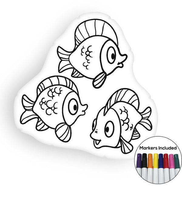 Fish III coloring pillow Made In USA