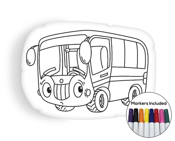 Little Bus coloring pillow Made In USA