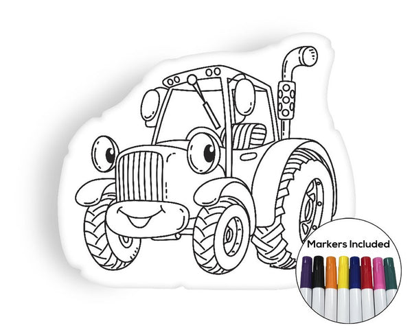Little Tractor coloring pillow Made In USA
