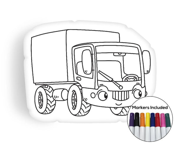 Little Truck coloring pillow Made In USA