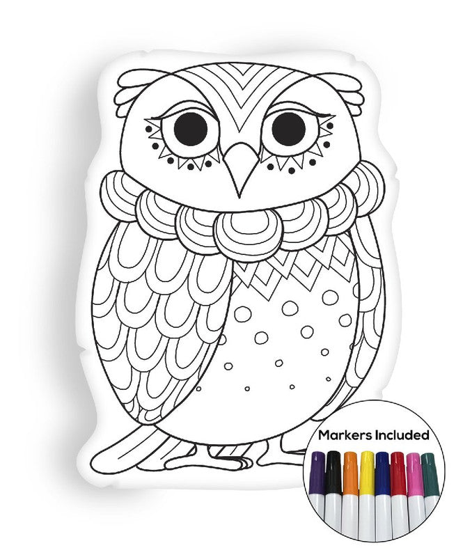Owl II coloring pillow Made In USA