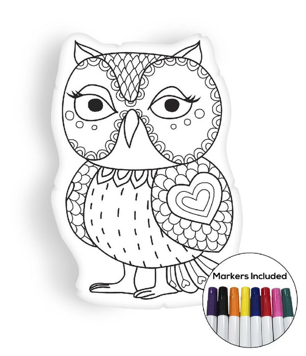 Owl III coloring pillow Made In USA