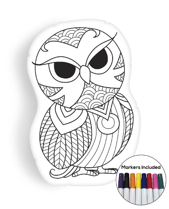 Owl IV coloring pillow Made In USA