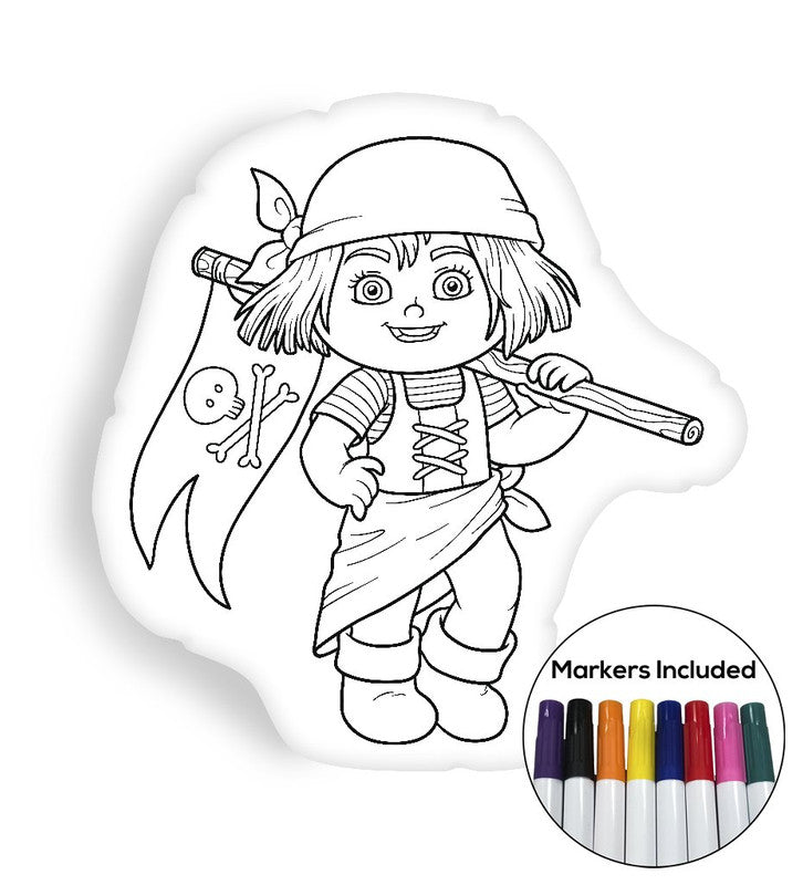 Pirate girl coloring pillow Made In USA