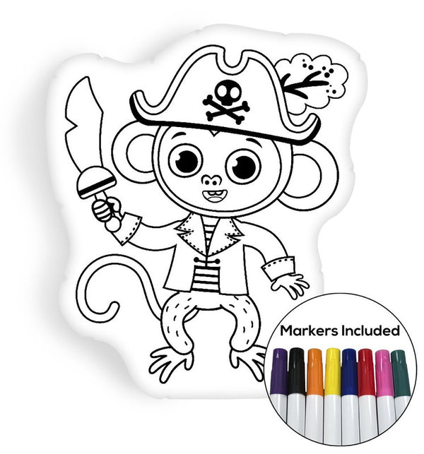 Pirate monkey coloring pillow Made In USA