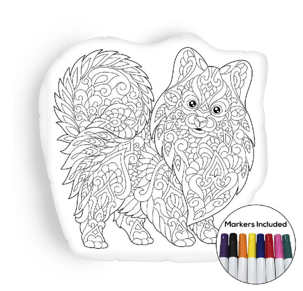 Pomeranian puppy coloring pillow Made In USA