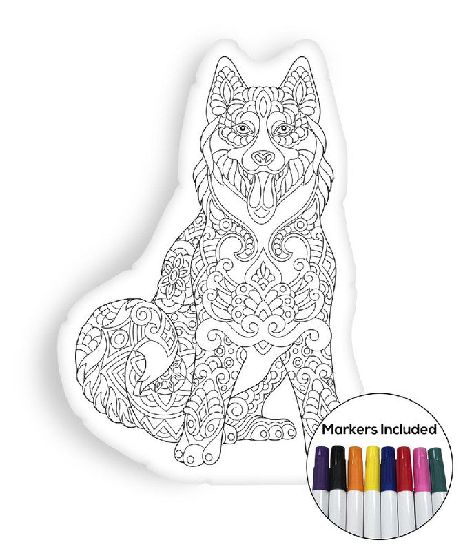 Siberian husky coloring pillow Made In USA
